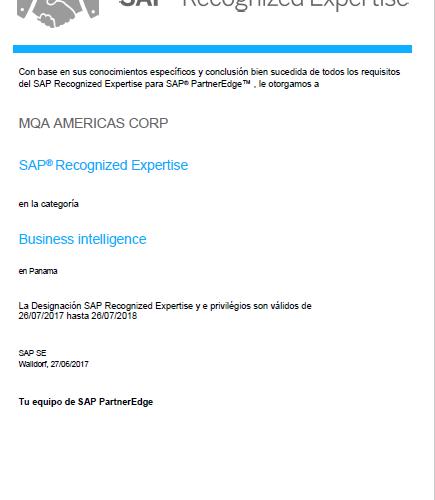 MQA recibe Recognize Expertise en la suite de SAP Business Analytics