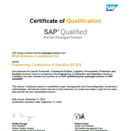 MQA recibe certificación de SAP para la solución de Ingeniería, Construcción y Operaciones